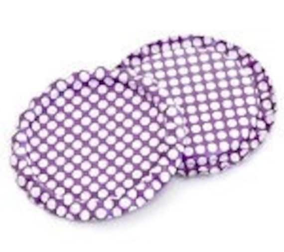 Laser Cut Supplies- 4 Bottle Caps Flattened Single Two Sided Bright Purple - White Polka Dots - Little Laser Lab