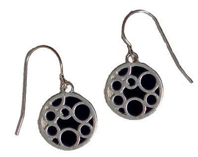 Silver Earrings of small black round bubble