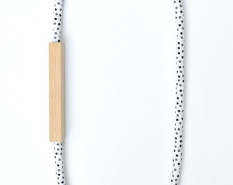 WOOD and COTTON Fabric Necklace in DOT Print