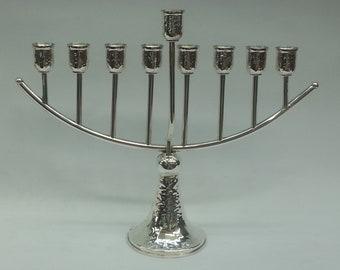 "Hanukkah menorah ""Rainbow"" handmade 925 hammerd sterling silver / art / judaica"