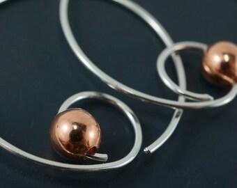 Spiral Hoop Earrings. Silver Hoop. Rose Gold Hoop. Yellow Gold Hoop. Niobium Hoop. Mens Hoop No.00E209