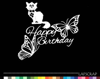 Cuts scrapbooking birthday happy birthday pet cat Butterfly embellishment die cut scrap album deco