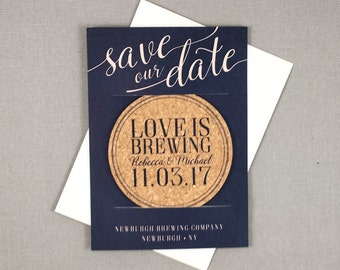 Love is Brewing Cork Coaster Save the Dates and A7 Envelope // Brewery Wedding Save the Dates