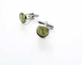 Small Cufflinks, lime green, light green, recycled glass cufflinks, beer bottle, Gift, Father's Day, New Orleans, Stainless Steel