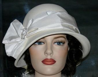Kentucky Derby Hat Downton Abbey Hat Edwardian Wedding Hat Ascot Hat Flapper Gatsby Hat Women's Roaring Twenties Ivory Hat - Lady Josephine