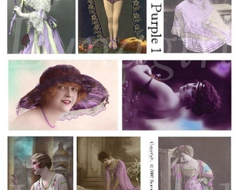 PURPLE Vintage Women digital collage sheet, Flappers divas showgirls, lavender tinted postcards, vintage photos, French ephemera DOWNLOAD