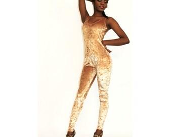 Metallic Gold Crushed Velvet Catsuit Jumpsuit Onesie Spandex Romper
