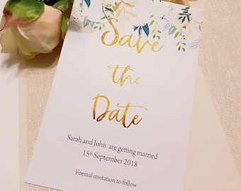 Simple floral elegant save the date cards