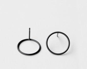 Kreise - oxidiertem Silber Ohrring - minimalistischen oxidiertem Sterlingsilber Kreis Ohrring