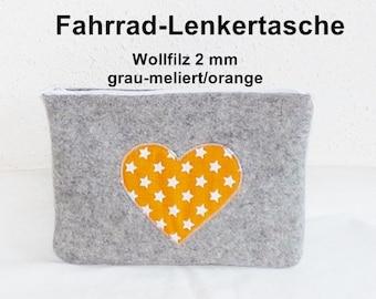 Wool Felt - bicycle bag, handlebars, gray