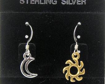 Silver Moon and Gold Sun Earrings on Sterling Silver Ear Wires, Asymmetrical Earrings, Sun and Moon Jewelry, Celestial Earrings