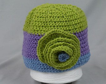 Crocheted Toddler/Girl Hat in Bright green Purple and Blue with large Green crocheted flower Hand crochet OOAK Cloche style hat