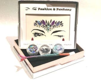 Festival Queen Festival Unicorn Crown Face Bling Jewel with Glitters, application gel and mermaid brush Kit
