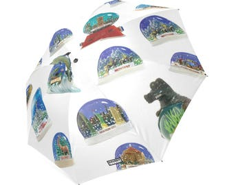 Snow Dome Umbrella - vintage snow globes photo reproductions - whimsical printed foldable umbrella