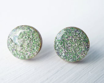 Mint and Lavender Glitter Wood and Resin Stud Earrings
