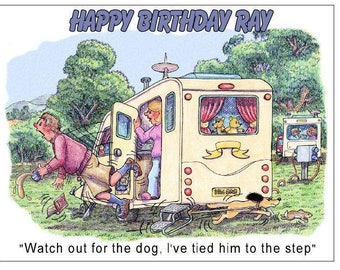 Funny comic caravan  dog and step camping trailer PERSONALISED BIRTHDAY CARD