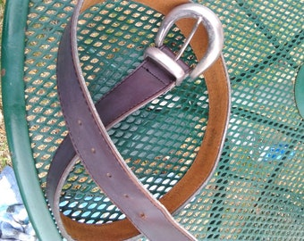 Vintage Levis Brown Leather Belt with Silverplate Buckle very good condition Size 32