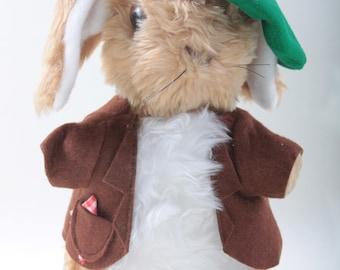 Benjamin Bunny, Rabbit in Costume, Soft, Plush, Green Hat, Brown Jacket, Toy, Animal, Children, Collection, Vintage, Nostalgia ~   160928