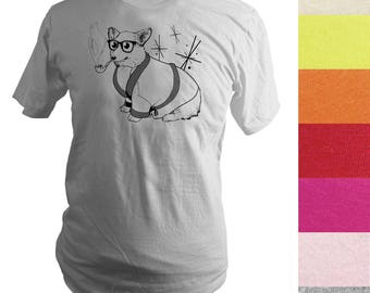 Made to Order Screen Printed T-Shirt, Bob Corgman, Welsh Corgi Dog, Men, Unisex, Pick Your Size, Various Colors, Graphic Tee, Handprinted