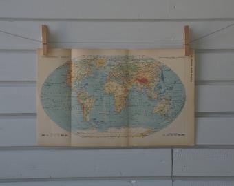 1938 Vintage World Map