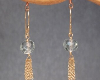 Moss aquamarine with chain tassel earrings Venus 175