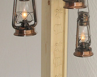 Rustic Floor Lamp With Old Fashioned Electrified Kerosene Lanterns U0026 Bear  And Moose Carvings, One