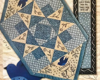 Sweet June Embroidered and Pieced Tablerunner by Kathy Schmitz