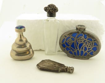 5 Antique Hand Engraved & Etched Sterling Silver Overlay, Crystal Perfume Bottles / 5.