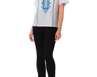 1970s Boho Ethnic Embroidered Peasant Style Short Sleeve Blouse SIZE: M/L, 12