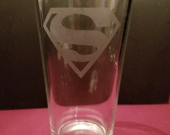 Superman Etched Pint Glass