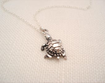Tiny Sterling silver  Turtle Necklace...Nature, Inspirational jewelry, Sea turtle pendant, Bridesmaid gift, Family gift, for her
