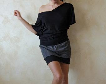 Mini skirt, Jersey skirt, pencil skirt, layered skirt, petite skirt, gray skirt, women skirt, sexy skirt, winter skirt, women clothing