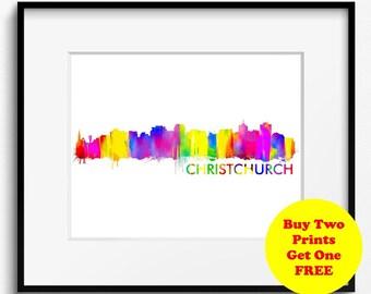 Christchurch Skyline, Watercolor Art Print (368) Christchurch Cityscape, New Zealand Art Print, Christchurch poster, Christchurch Art Print