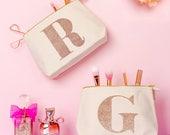 Personalised Makeup Bag - Monogram Makeup Bag - Cosmetics Bag - Gift For Beauty Lover - Rose Gold Initial Makeup Bag - Alphabet Bags