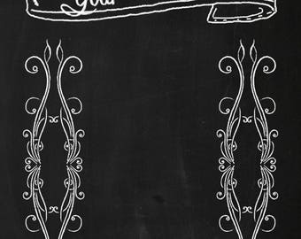 True Happiness Custom Chalkboard Wedding or Photo Booth Backdrop (CLK-SD-031)