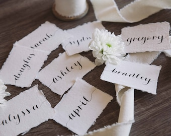 Handmade Paper Calligraphy Place Cards