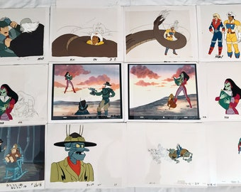 BraveStarr Filmation Original Production Animation Cels & Sketches Lot of 12