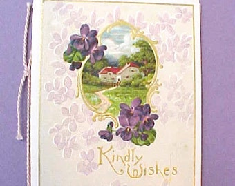 Charming Little Edwardian Era Card with Deep Purple Embossed Violets
