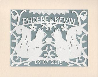 Woodland Wedding Gift, Personalised Squirrels Handcut Papercut Wall Art