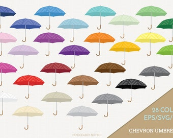 Umbrella Vector, Chevron Umbrellas Clipart, Rain Clip Art, Rainy Day SVG, Umbrella PNG  (Design 13706)