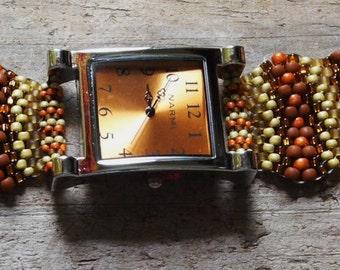 Jewelry - Father Time Burnt Orange  - Free Form Peyote Stitch Beaded Watch Bracelet - Bead Weaving