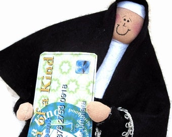 funny nun doll, shopping sister, fun Catholic gift, retail therapy,  shopper with list and purchases, Sister Accumulata