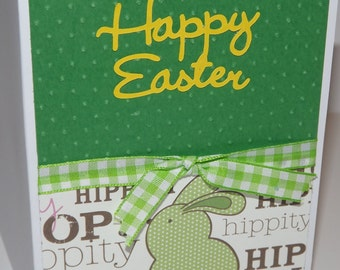 Happy Easter Card Bunny Green Yellow