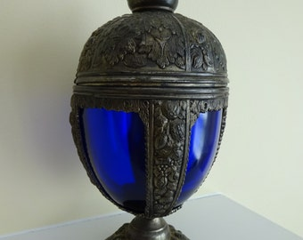 Antique Art Nouveau PNCW Metal and Blue Glass Compote Chalice Urn with Ornate Aesthetic Repousse Details and Tarnished Patina
