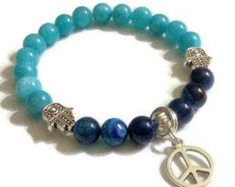 Aquamarine blue striped Agate Hamsa Peace charm bracelet