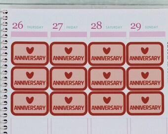 Anniversary Half Box Planner Stickers for Erin Condren, Anniversary Planner, Anniversary Stickers, Relationship Stickers