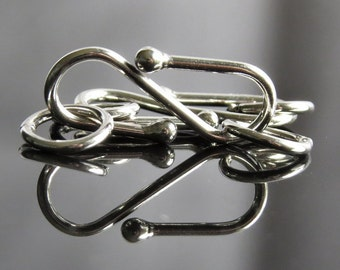 Bali Sterling Silver 15mm x 5mm S Hook Clasp : 2 Silver Clasps