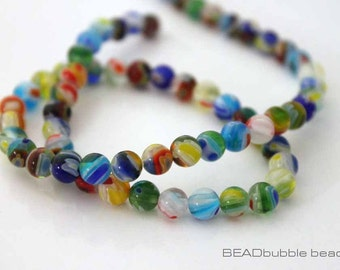 Millefiori 6mm Round Multi Colored Flower Beads 36cm Strand (approx 64 beads) Jewelry Making MIL017