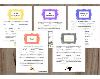 Cooking Theme Party Ad Libs Instant Download