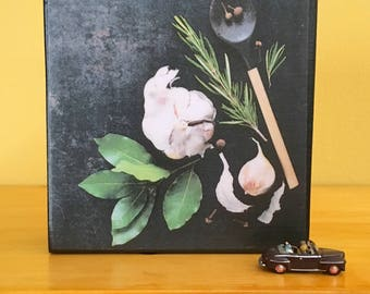 """Kitchen Photo Art Block- Chef or Gift for the Cook -Housewarming or Hostess Favor- Wedding or New Home Gift- 4"""" x 4"""" Culinary Herb Flatlay"""